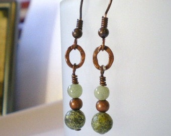 Copper Serpentine and Green Aventurine Earrings with Hammered Links
