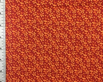 Orange Floral Fabric by the yard , Light orange flowers on a dark orange background , 100% Cotton fabric