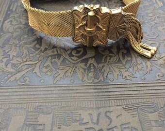 Victorian Gold Mesh Slide Bracelet, Antique Mesh Adjustable Bracelet - AS IS