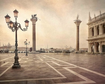 Piazza San Marco in Venice Italy at Sunrise Photograph, Earth Tones, Italian, Sunrise on Piazza San Marco
