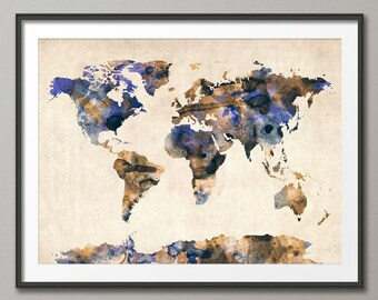 Watercolor Map of the World Map, Art Print (105)