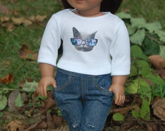Sale-Doll tee-fits American Girl doll clothes/18 inch doll clothes/AG doll clothes/doll shirt-trendy Cat 3/4 length sleeve tee