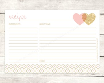 recipe card bridal shower printable DIY pink gold glitter hearts wedding shower bridal shower digital accessories - INSTANT DOWNLOAD