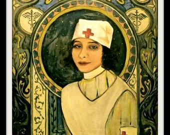 Nurse Art , Nouveau Art Print,Vintage Red Cross , Art Poster , Print 8 x 10 , Giclee