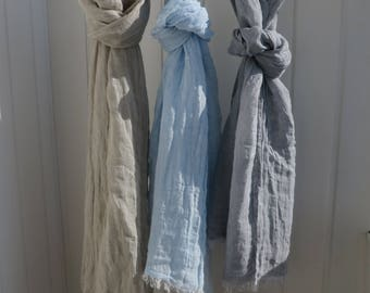 LINEN SCARF 100% Linen Scarf Very Soft Grey Linen Scarf Blue Linen Shawl Summer Scarves Lightweight Soft Scarf Undyed scarf Mothers Day Gift