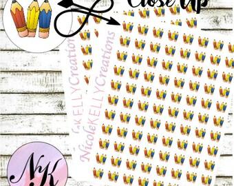 54 Pencil Stickers, Stickers, Blog Sticker, Homework sticker, use with Erin Condren Planner(TM), Happy Planner, planner, Travelers Notebook