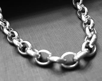 THE FINEST SILVER- on the market - 960 Argentium® Silver 5.9 x 7.4 mm Belcher Rolo Chain, choose Length and clasp