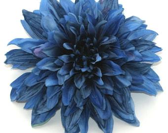 Royal Navy Blue Dinner Plate Silk Dahlia - Artificial Flower, Silk Flower