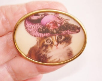Cat with Hat Brooch KL Design