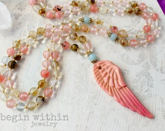 Archangel Metatron Mala Beads / Watermelon Tourmaline Prayer Beads / Angel Wing Mala Necklace