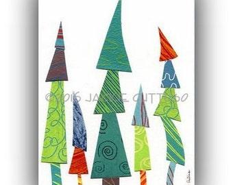 "Whimsical tree art, Giclee print 5 x 7"", Colorful tree art, Tree collage, Woodland nursery print, Winter art, Cabin decor, Christmas tree"