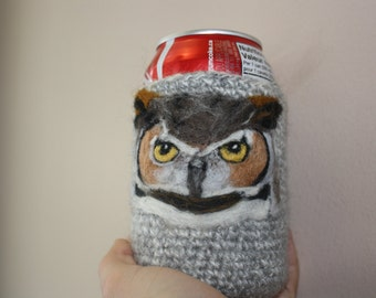 Great horned owl needle felted can cozy