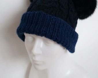 Made to order: Knitted Bear Ear Hat Blue Womens / Teens Autumn Winter Ladies Cap Beanie Adults