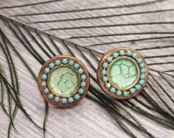 Clearance 50% Off Turquoise Earrings,Ethnic Earrings,Gypsy Earrings,Egyptian Jewelry,Gypsy Jewelry,Copper Earrings,Boho Jewelry,Bohemian