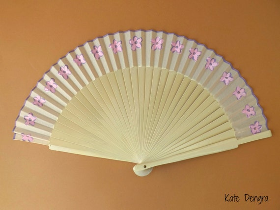 Pink and Purple Flowers Cream Fan with Purple Border Hand Fan READY to SHIP