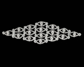 Sew on - Rhinestone Diamonte Silver Bridal Wedding - Patch 63 Sew On Motif Crystal Applique
