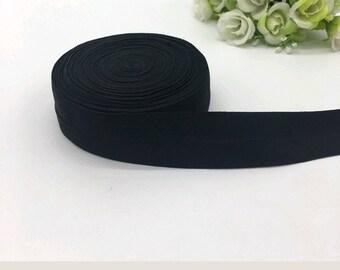 1 inch fold over elastic, BLACK matte finish foldover elastic, 1 inch FOE, 1inch Black FOE, diaper elastic, hair tie, finishing elastic