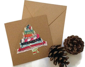 Unique Christmas cards handmade, fabric Christmas card, Christmas wrap, special friend Christmas card