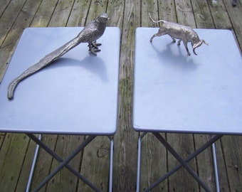 Industrial Rustic Silver Trays with Tall Legs,Metal TV Tray,Stylish Tray,Gray TV Trays