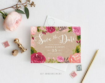Printable Save the Date Announcement   Save the Date, Invitation, Postcard, Rustic, Roses, Floral, Script, No Photo
