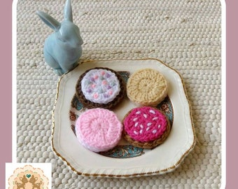 Play Cookies, Play Biscuits, Pretend Cookies, Pretend Biscuits, Crochet Cookies, Crochet Biscuits, Children's Pretend Food, Kids Play Food