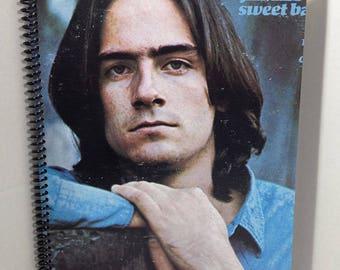 James Taylor Album Cover Notebook Handmade Spiral Journal - Sweet Baby James