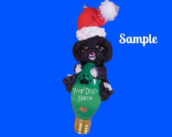 Black with white paws Shih Tzu Santa Dog Christmas Light Bulb Ornament Sallys Bits of Clay PERSONALIZED FREE with dog's name