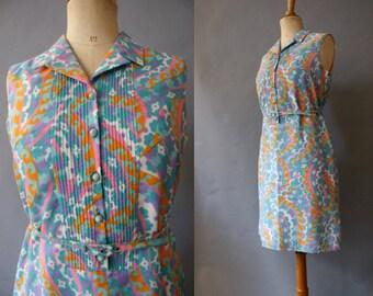1960s Psychedelic Shirtwaist Dress