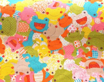 Japanese fabric Frog Half meter 19.6 by 42 inches nc52