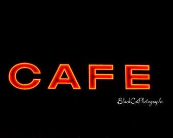 Cafe Sign Photo, Red Neon Sign Photography, Kitchen Wall Art, Retro Art Print, Restaurant Decor, American culture photo, Red and Black Decor