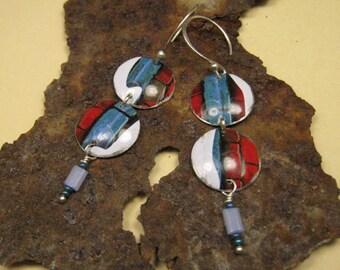 Recycled Earrings / Recycled Tin Earrings / Blue and Red Earrings / Upcycled Earrings / Tin Earrings / Aluminum Earrings / Reduce Reuse