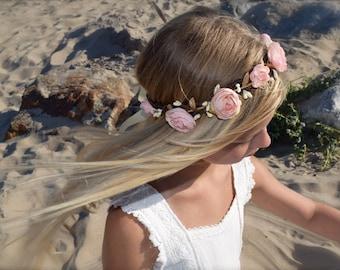 Blush Flower Crown - Blush Pink Hair Wreath- Flower Girl Crown- Ranunculus Flower Crown- Bridal Hair Wreath- Photo Prop- Pink Flower Girl