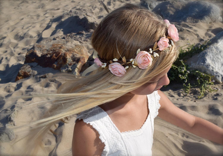 Blush flower crown blush pink hair wreath flower girl zoom izmirmasajfo Image collections