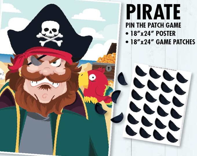 Pirate Party - Pin the Patch on the Pirate, Pin the Eyepatch Game, Pirates of the Caribbean Party   INSTANT Download PDF - Printable Game