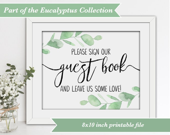 Wedding Guest Book Sign - Eucalyptus