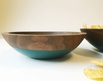 Walnut Wood and Forest Green Serving, Snack Set of 2 Wooden Bowls by Willful Goods