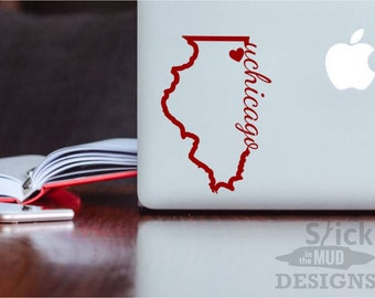 University of Chicago Permanent & Custom State Vinyl Decal (Outline Style)