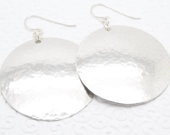 Large Disc Earrings in Hammered Sterling Silver