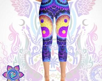 Yoga Leggings Yoga Pants -- Yin Yang Clothing YinYang Leggings -- Meditation Spirituality Empath -- Art Leggings Printed Leggings Yoga Wear