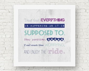 Stay positive poster, inspirational quote art, motivational wall art, square quote print, positive wall art, everything happens for a reason