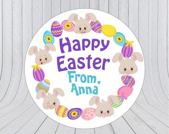 Easter stickers etsy easter gift labels personalised easter stickers happy easter stickers happy easter labels negle Images