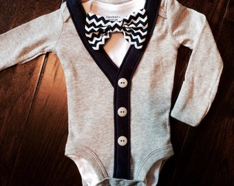 Preppy Baby Boy Cardigan, Onesie + Bow Tie  Set