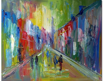 Street Scene - Signed Hand Painted Abstract Cityscape Painting On Canvas