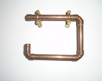 Copper Toilet Roll Holder, Copper Hook, Industrial Furniture, Steampunk Furniture, Quirky Home Accessories