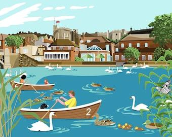 Windsor Riverbank - Print - A4/A3 - Art - Royal Wedding - Landscape