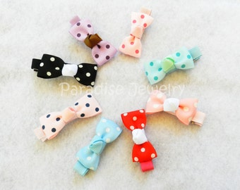 Girls Hairbow Sets, Choose Your Color Piggy Bows, Pink with White Polka Dot, Baby Bows, Toddlers Girls, Pig Tail Hair Bows, Small Hair Clips