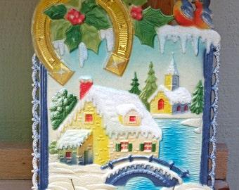 Vintage Germany Die Cut Embossed Snowy Scene Calendar Holder