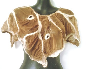 Light Brown Beige Short Nuno Felted Poncho Summer Poncho Capelet Fairy Poncho