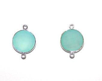 Aqua Chalcedony Briolette Jewellery Finding Connectors Bezel Set in .925 Sterling Silver
