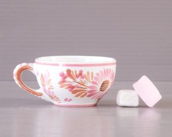 Quimper Cup    Henriot Pink Coffee Cup   Daisy design   Small Pink Cup   Breton Tea Cup   Quimperware   Quimper Pottery   HB Quimper  